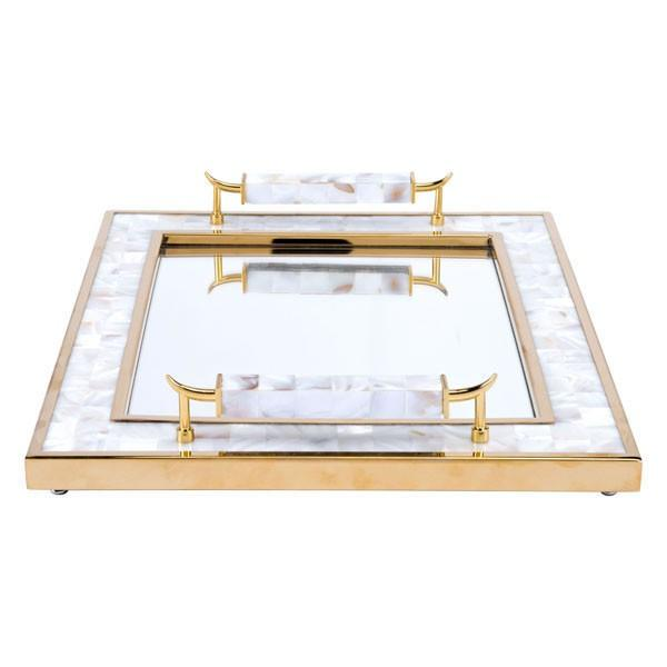 Zuo Tray With Horn Handle White