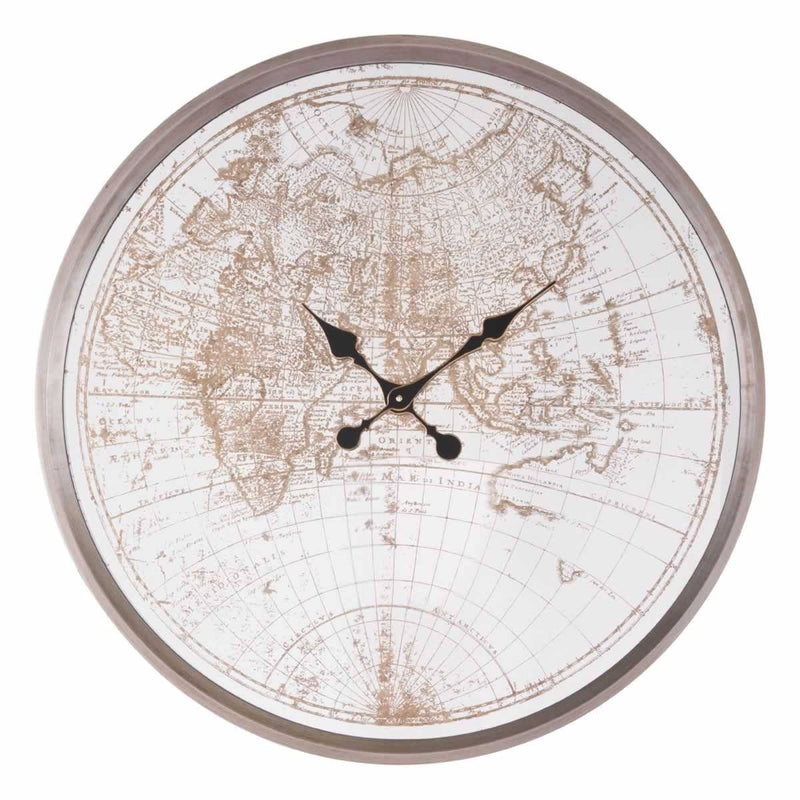 Zuo Hora Mundial Clock Antique Silver