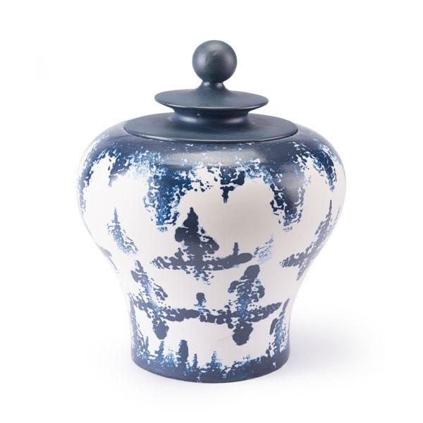 Mar Medium Temple Jar Blue & White