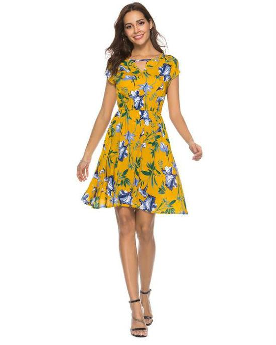 Women's V Neck Holiday Dress Ladies Summer Floral Print Beach Party Mini Dress