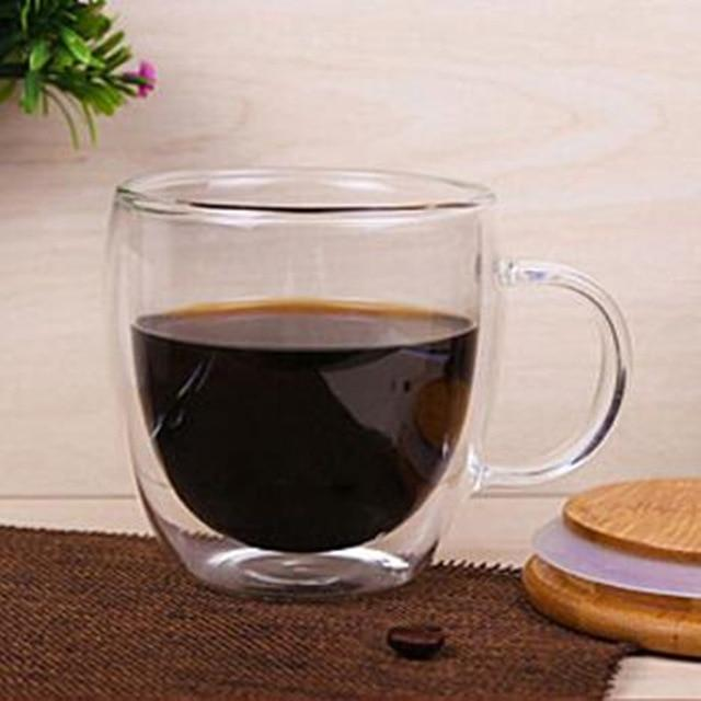 Double Wall Glass Handle Coffee Glasses Cups & Heart Love Shaped Double Wall Glasses Cups
