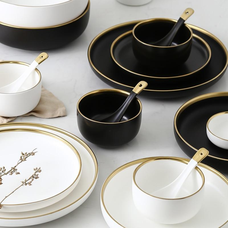Round Gold Stroke Ceramic Dinner Plate Collection