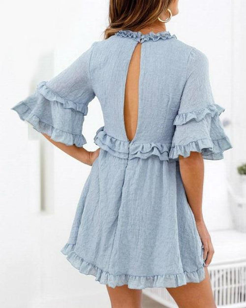 Women's Elegant Solid Ruffles Short Sleeve Dress