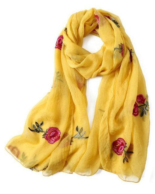 Women's Spring Embroidery Floral Scarf