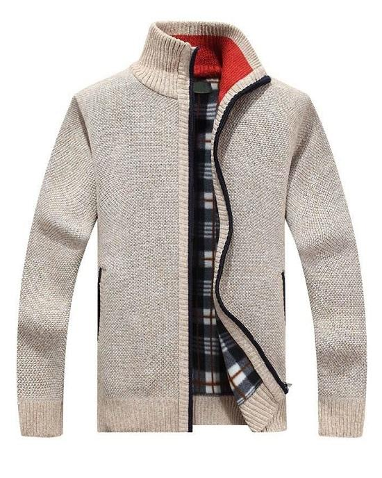 Men's Sweaters Warm Cashmere Wool Zipper Cardigan Sweaters