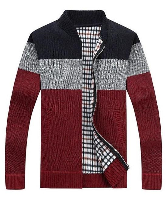 Men's Stripe Warm Cashmere Wool Zipper Cardigan Sweaters