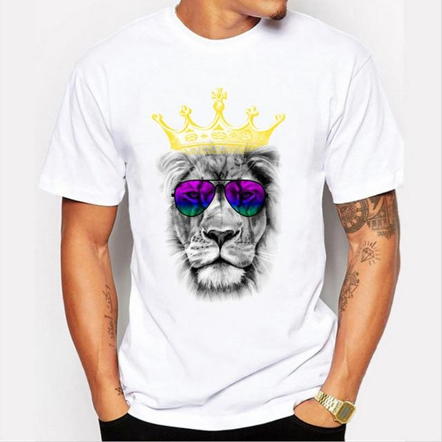 Men's Summer Crown Lion Print T-Shirt