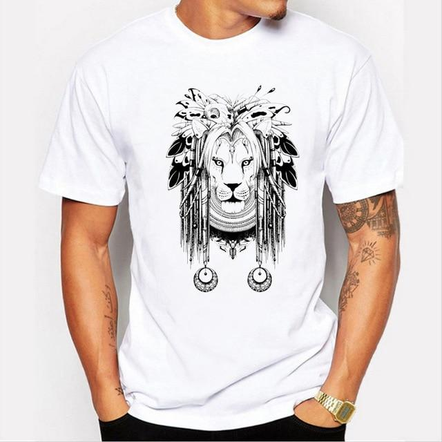 Men's Summer Lion With Earrings Print T-shirt
