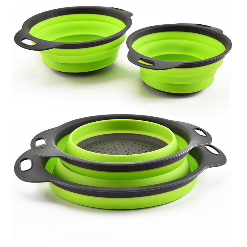Collapsible Silicone and Colander 2pcs Set