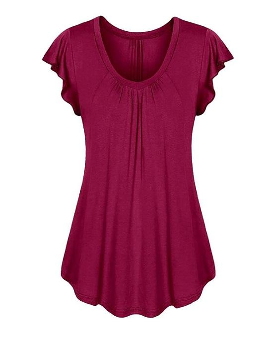 "Women""s V-Neck Ruffled Sleeveless Top, Plus Size"