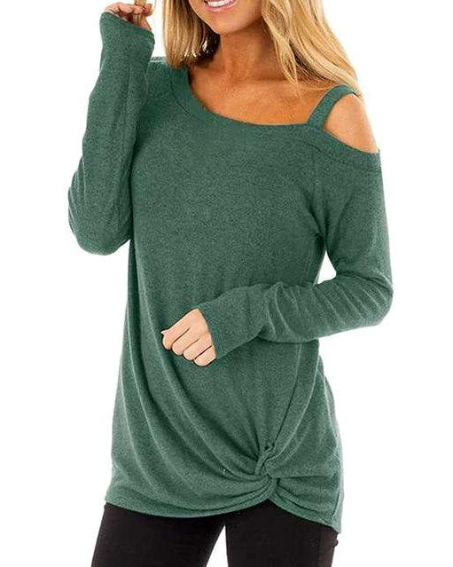 Women's Knot Side Twist Long Sleeve Shirt