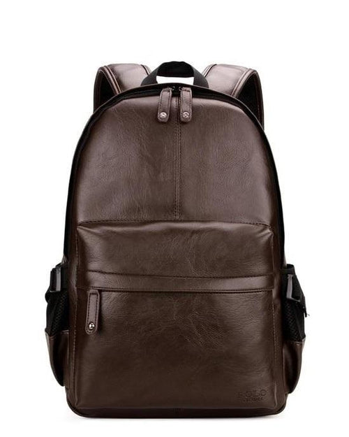 Men's Preppy Style Leather School Backpack