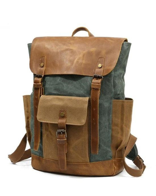 Men's Oil Wax Canvas Backpack Bag