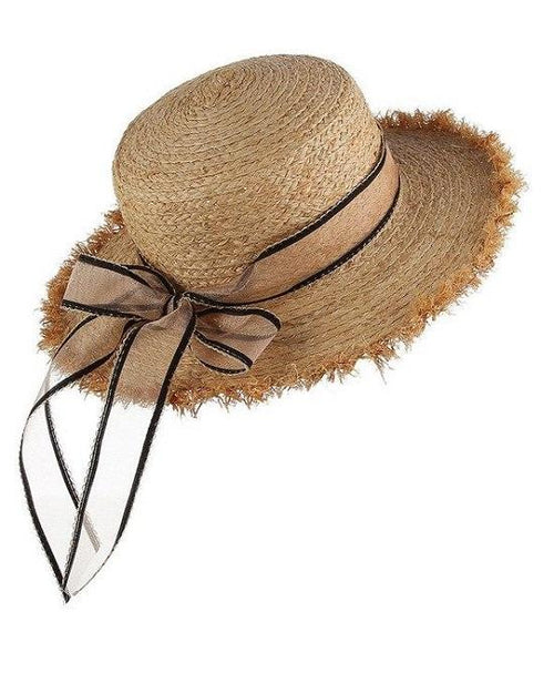 Women's Summer Straw Raffia Woven Ribbon Decor Hat
