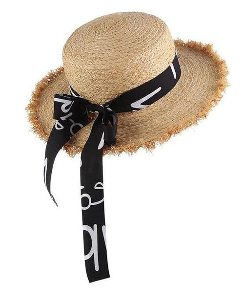 Women's Summer Straw Raffia Woven Print Ribbon Decor Beach Hat