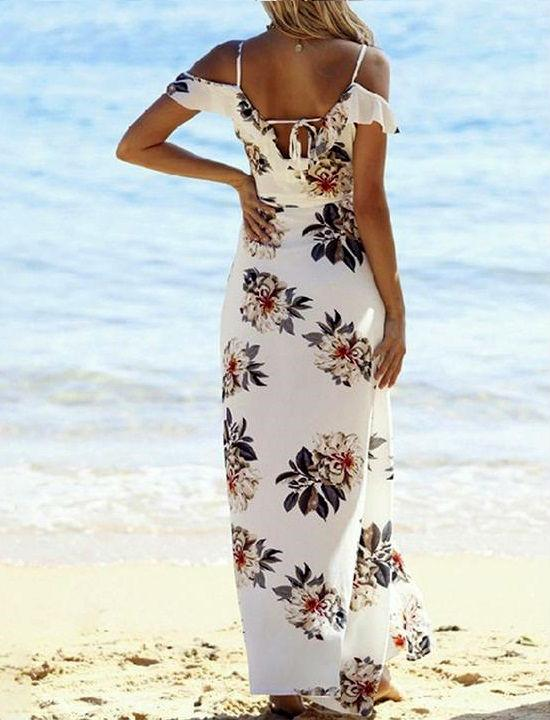 Women's Summer Maxi Dress Sexy Boho Floral Printed Deep V-Neck Beach Long Dresses