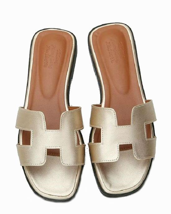 Women's Metallic Leather Slide Sandals