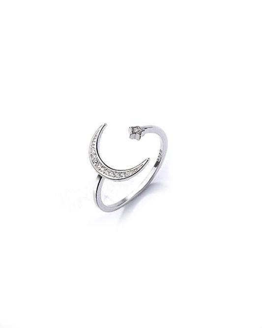 Stroll Girl 925 Silver Stars Moon Ring