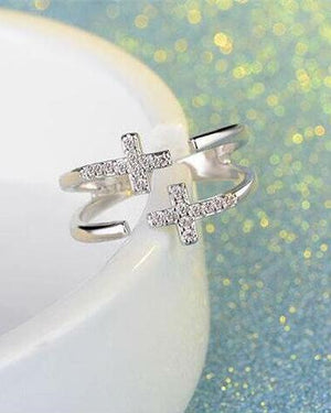 Stroll Girl 925 Sterling Silver Double Cross Opening Adjustable Ring