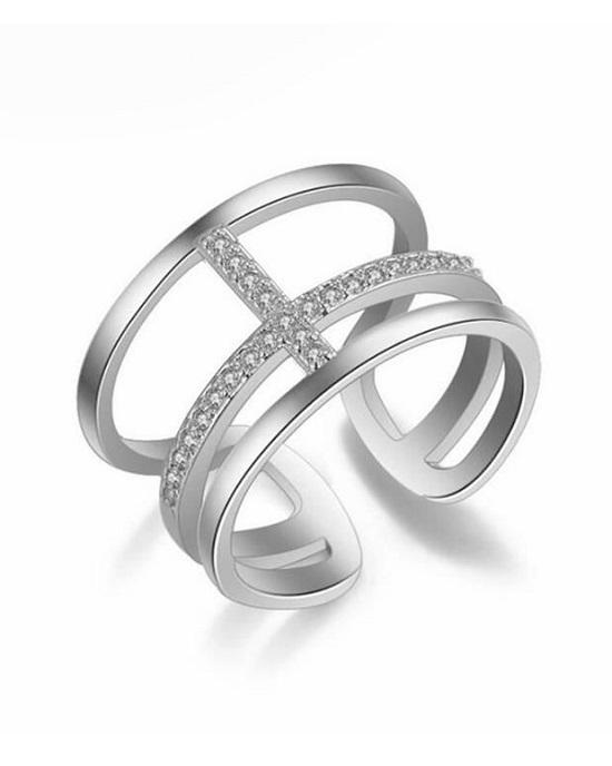 Stroll Girl 925 Sterling Silver Simple Opening Double-Layer Cross Ring