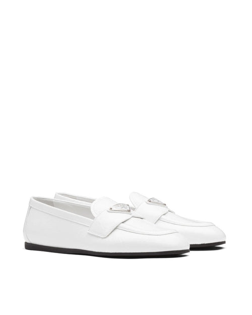 Prada Patent Leather Loafers, White