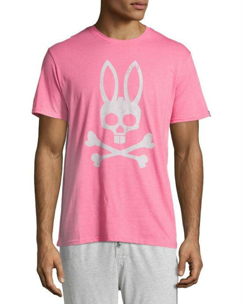 Psycho Bunny Pink Grey Graphic Cotton Jersey Lounge Tee-PSYCHO BUNNY-Fashionbarn shop