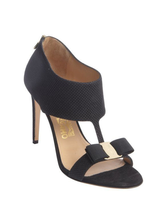 Salvatore Ferragamo black pebbled suede bow detail t-strap 'Pellas' pumps-SALVATORE FERRAGAMO-Fashionbarn shop