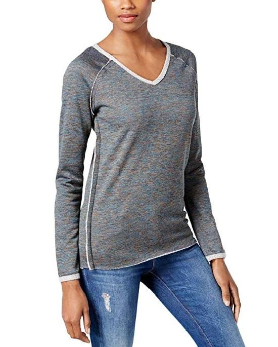 KUT from the Kloth Women's Exposed Seam V-Neck Long Sleeve Sweatshirt