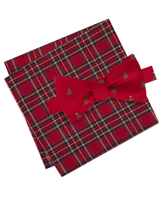 Tommy Hilfiger Men's Tree Print Bow Tie & Royal Stewart Tartan Pocket Square Set-TOMMY HILFIGER-Fashionbarn shop