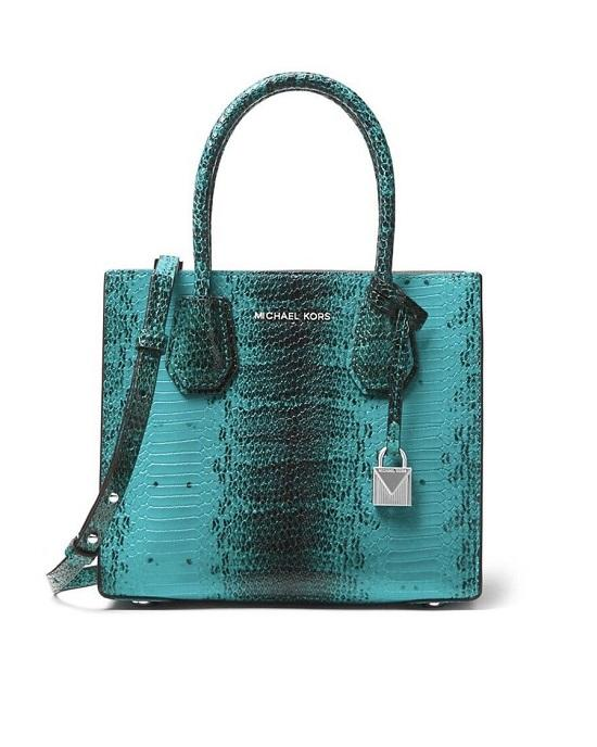 Michael Michael Kors Mercer Python Embossed Leather Medium Messenger Tile Blue