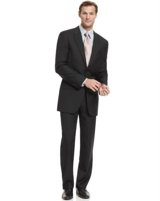 Alfani Tow Button Black Solid Stretch 2 PC Suit-ALFANI-Fashionbarn shop