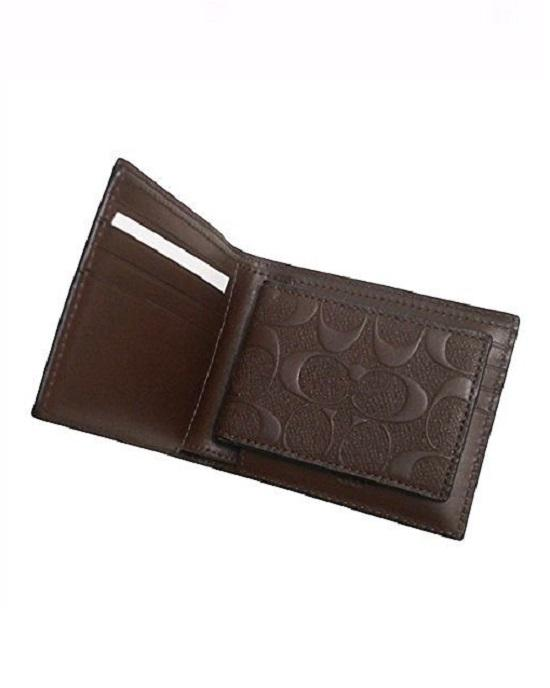Coach F75371 Compact ID Wallet in Signature Crossgrain Leather