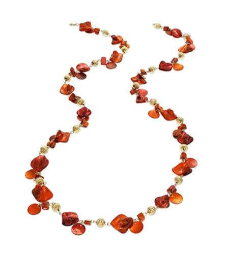 Style & Co Long Poppy Red & Beaded Gold-Tone Station Rope Necklace-STYLE & CO-Fashionbarn shop