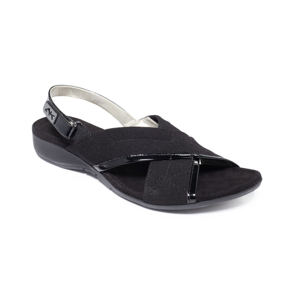 b1cef7f8c3bc Anne Klein Black Kachine Cross Strap Sandals-ANNE KLEIN-Fashionbarn shop