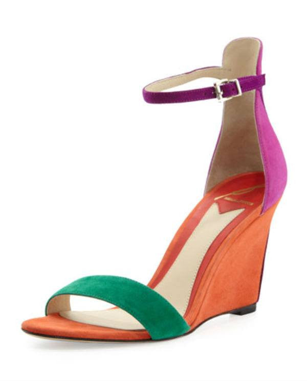 B Brian Atwood Roberta Suede Wedge Sandal, Orange-B BRIAN ATWOOD-Fashionbarn shop