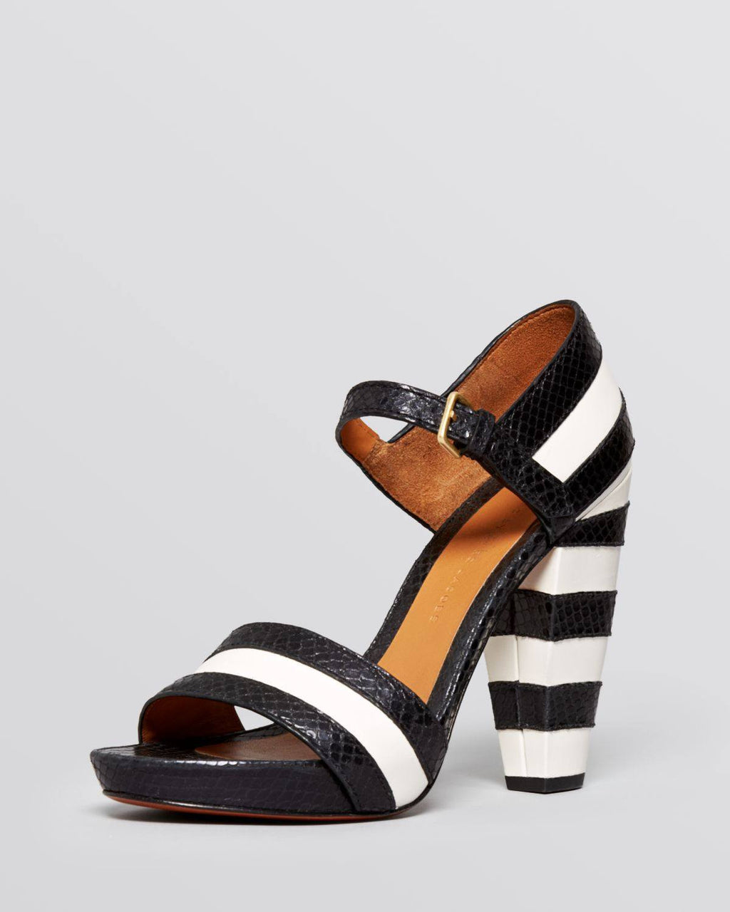 387aeb02948f69 MARC by Marc Jacobs Black Open Toe Platform Sandals Snakeembossed Striped High  Heel-MARC BY