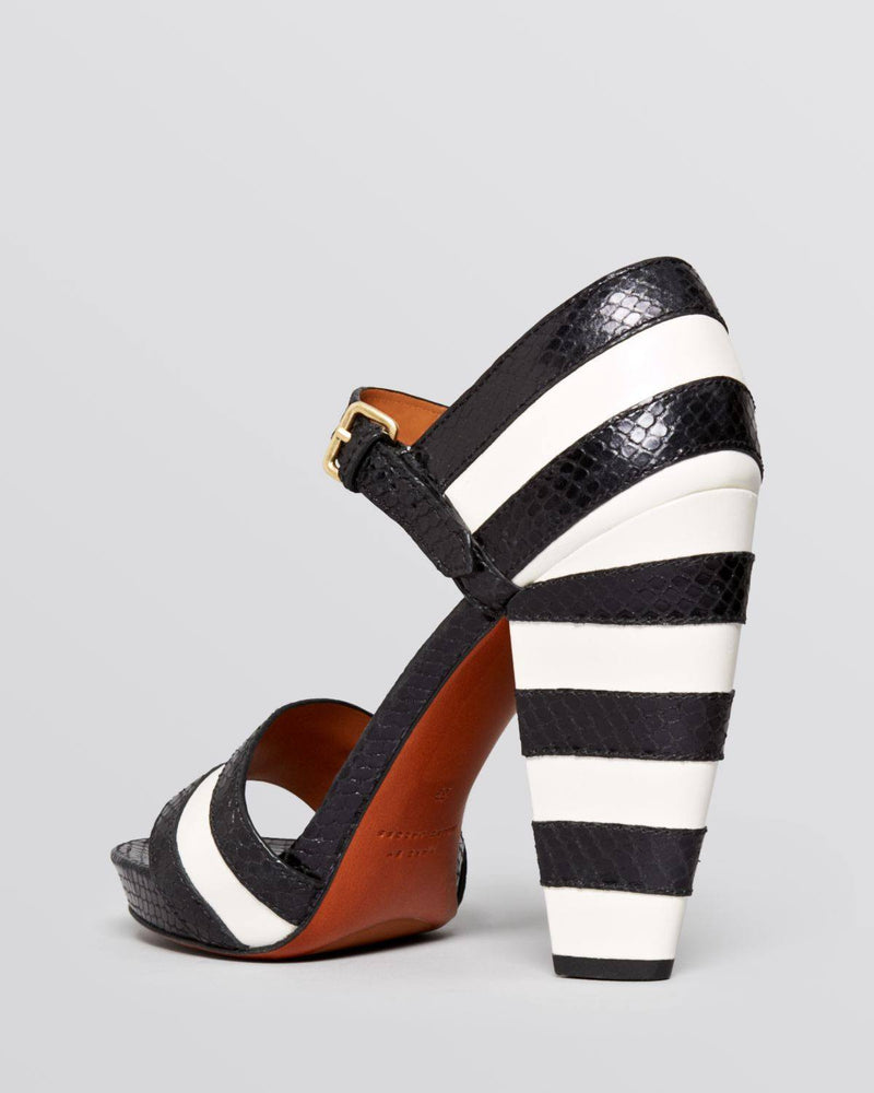 MARC by Marc Jacobs Black Open Toe Platform Sandals Snakeembossed Striped High Heel-MARC BY MARC JACOBS-Fashionbarn shop