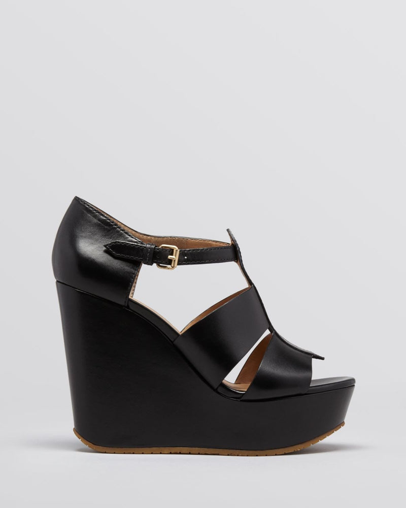 MARC BY MARC JACOBS Black Platform Wedge Sandals-MARC BY MARC JACOBS-Fashionbarn shop