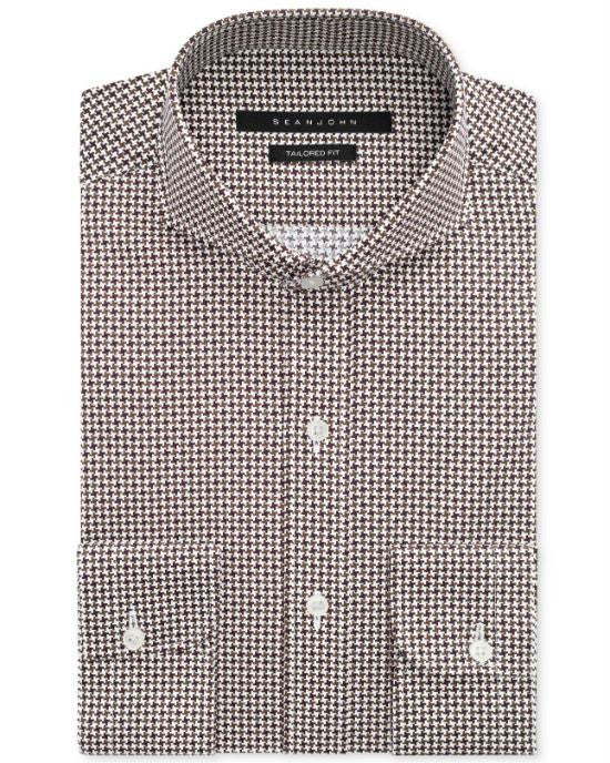 Sean John Cocoa Houndstooth Dress Shirt-SEAN JOHN-Fashionbarn shop