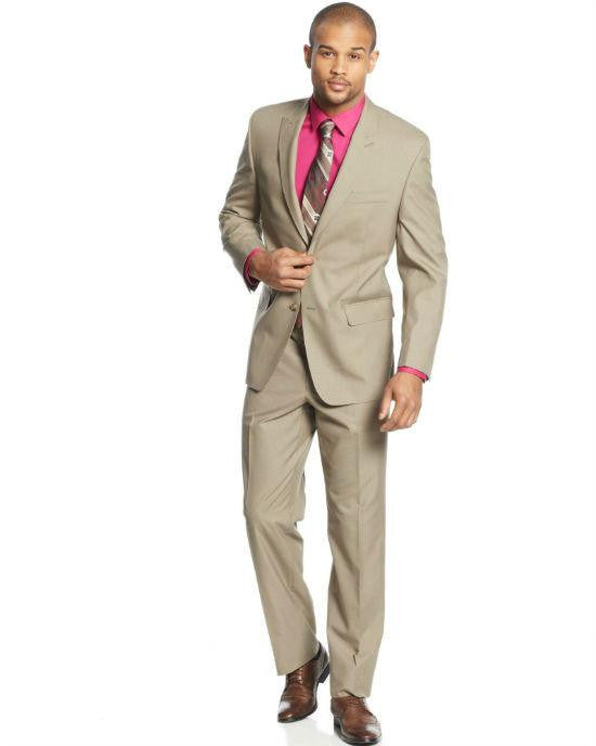 Sean John tan mini check 2 Piece Suit-SEAN JOHN-Fashionbarn shop