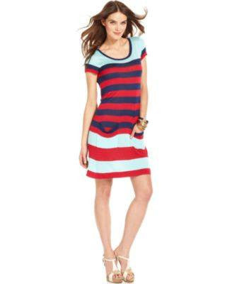 KENSIE SHORT-SLEEVE SCOOP-NECK STRIPE CHERRY M-KENSIE-Fashionbarn shop