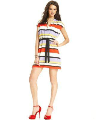 KENSIE SHORT-SLEEVE V-NECK STRIPED DR TOMATO M-KENSIE-Fashionbarn shop