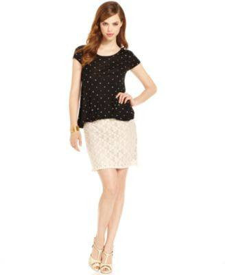 KENSIE SKIRT, DOT-LACE MINI BIRCH COMBO 8-KENSIE-Fashionbarn shop