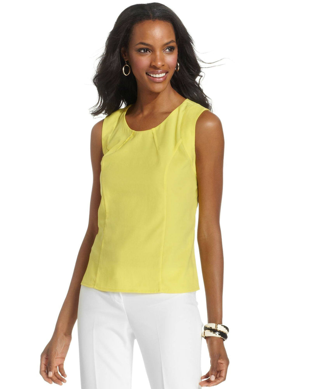 Anne Klein Yellow Sleeveless Pleatedneck Shell-ANNE KLEIN-Fashionbarn shop
