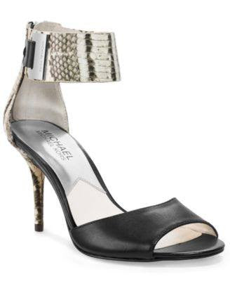 MICHAEL KORS GUILIANA ANKLE STRAP PUMPS BLACKWHITE PRINTED SNAKE-MICHAEL MICHAEL KORS-Fashionbarn shop
