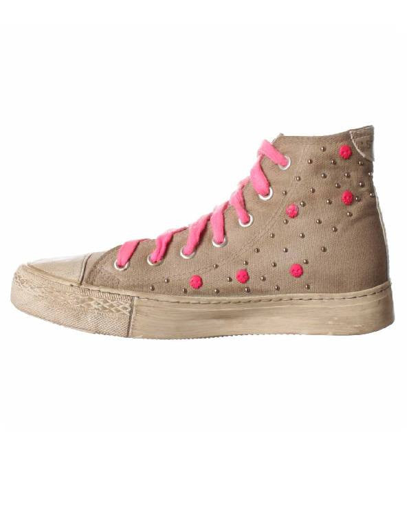 Studswar Lace Up High Top Sneakers - Cecelia Pink-STUDSWAR-Fashionbarn shop