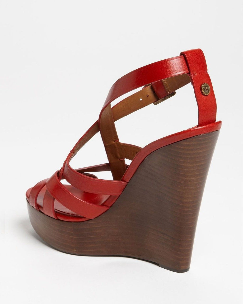 Burberry Red Delamer Platform Wedges Sandal