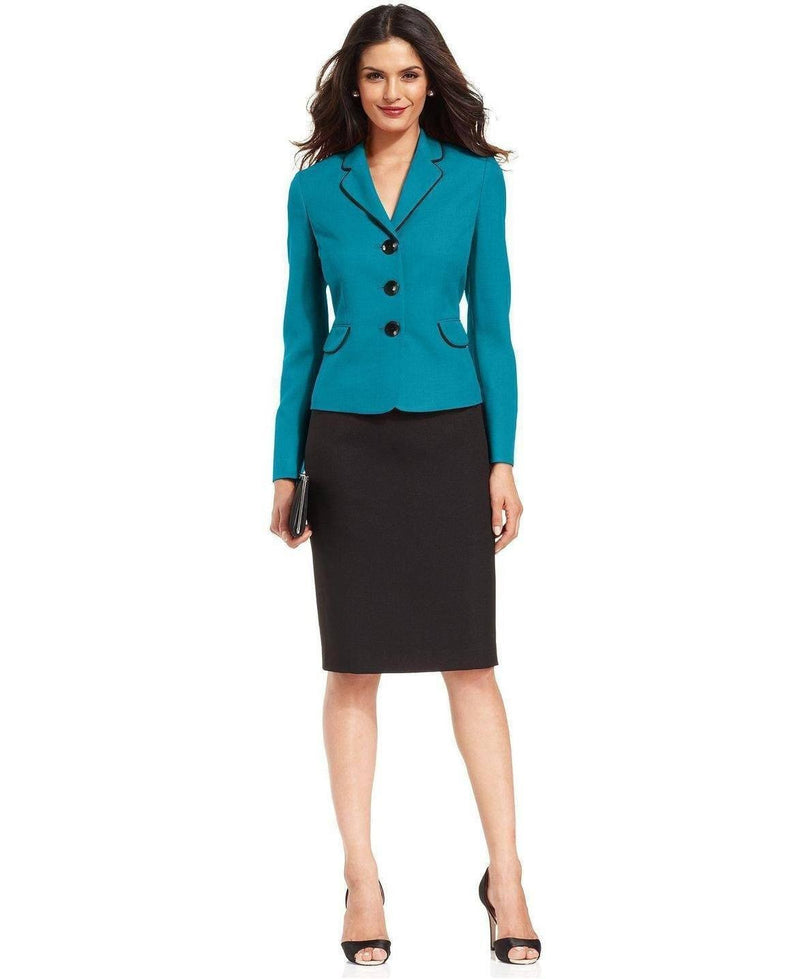 Evan Picone Contrast-Jacket Skirt Suit-EVAN PICONE-Fashionbarn shop