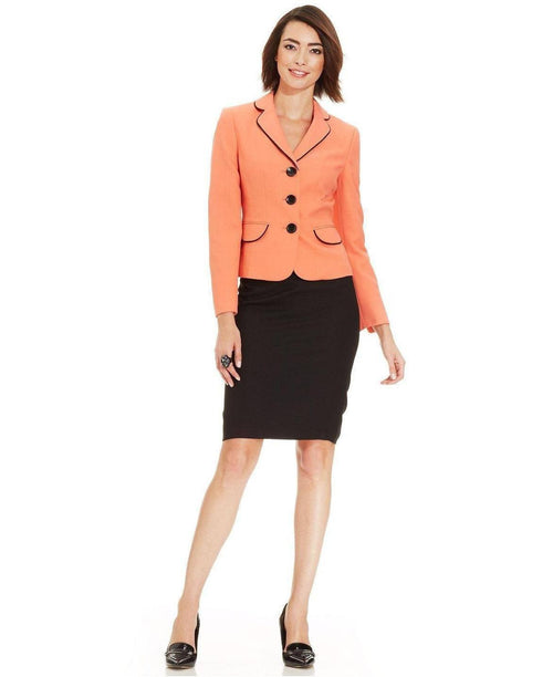 Evan Picone Piped Crepe Skirt Suit-EVAN PICONE-Fashionbarn shop