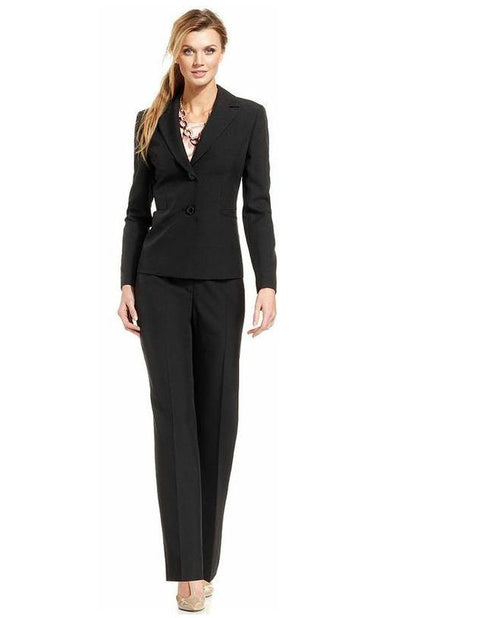Evan Picone Two-Button Pinstriped Pantsuit-EVAN PICONE-Fashionbarn shop